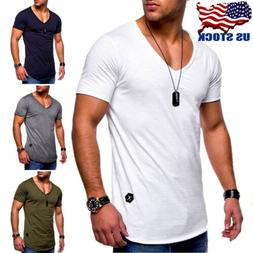 Mens Slim Fit Short Sleeve V Neck T-shirt Muscle Tee Shirts