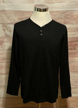 Aiyino Mens T-shirt Size Large Long Sleeves V-Neck Buttons N