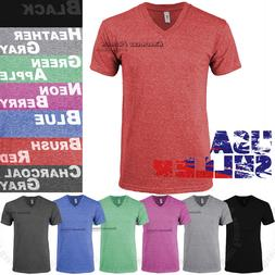 Tri Blend V Neck T Shirt Short Sleeve Slim Fit Casual Plain