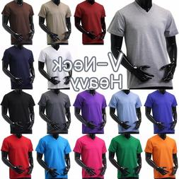 Mens V NECK T Shirts HEAVY Short Sleeve Sports Blank 5XL Sol