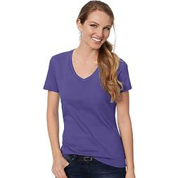 Hanes by Women's Nano-T V-Neck T-Shirt, Purple, S