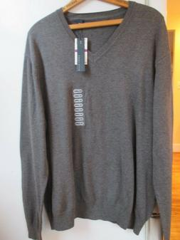 NEW $59.50 Perry Ellis V Neck Sweater XXL Gray Cotton Rayon