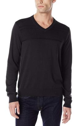 New Perry Ellis $69.50 Mens Black Textured V-Neck Sweater Si