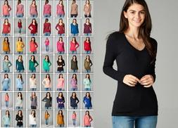 NEW BASIC V NECK LONG SLEEVE FITTED TOP SOLID STRETCH T SHIR