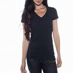 Zenana Outfitters NEW Black Womens Size Large L V-Neck Tee K
