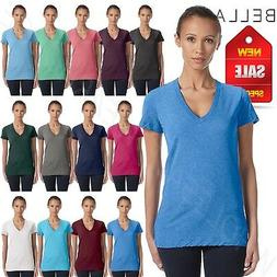 NEW Bella Canvas Ladies Triblend Short Sleeve Deep V-Neck T-