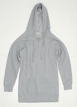 NEW Zenana Outfitters Ladies V-Neck Hooded Sweatshirt Grey S
