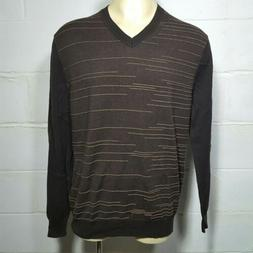 NEW LT Large Tall PERRY ELLIS V-Neck Sweater Dark Brown Stri
