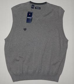NEW CHAPS MENS BIG AND TALL V-NECK GRAY SWEATER VEST 2XB  XL