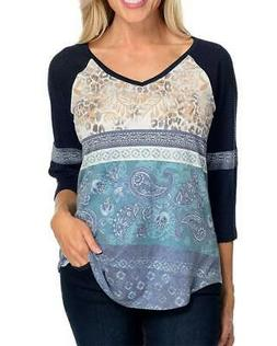 NEW - One World Mixed Print Knit 3/4 Raglan Sleeve V-Neck To