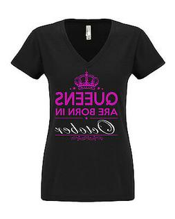 NEW! QUEENS ARE BORN in February ALL MONTHS T-shirt Women V-