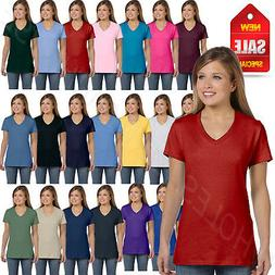 NEW Hanes Women's 4.5 oz 100% Cotton Short Sleeve nano-T V-N