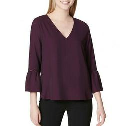 CALVIN KLEIN NEW Women's Bell-sleeve V-neck Lace Detail Blou
