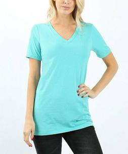 Zenana Outfitters NWOT Ash Mint Green V- Neck Tee Shirt in S