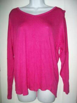 NWOT Zenana Outfitters Hot Pink V Neck Long Sleeve Cutouts S