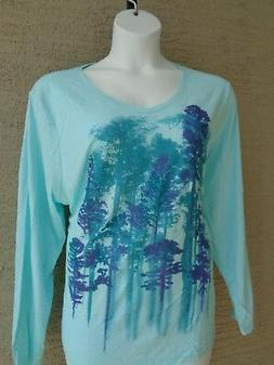 NWT Just My Size 4X  Light Weight L/S V Neck Glitzy Graphic