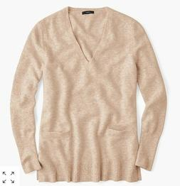 NWT J.CREW WOMANS V NECK FRONT POCKET TUNIC SWEATER SZ SMALL