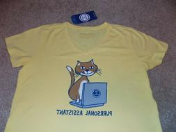 NWT Life is Good Yellow Purrsonal Assistant Cat Laptop T-Shi