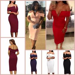 Off The Shoulder Dress V Neck Cocktail Party Sexy Bodycon Wo