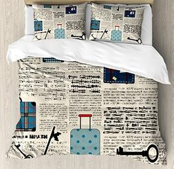 Ambesonne Old Newspaper Decor Duvet Cover Set Queen Size, Re