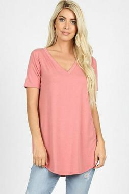 Zenana Outfitters Women's Relaxed Fit V Neck Round Hem Top D