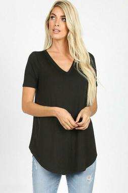 Zenana Outfitters Women's Relaxed Fit V Neck Round Hem Top B
