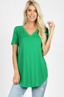 Zenana Outfitters Women's Relaxed Fit V Neck Round Hem Top K