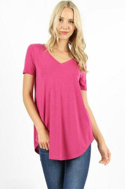 Zenana Outfitters Women's Relaxed Fit V Neck Round Hem Top M