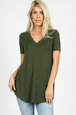 Zenana Outfitters Women's Relaxed Fit V Neck Round Hem Top A