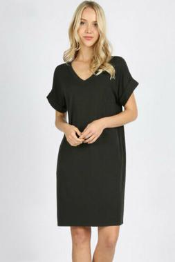 Zenana Outfitters Women's Rolled Sleeve V Neck Shirt Dress B
