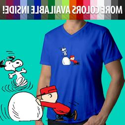 Peanuts Snoopy Dance Charlie Brown Winter Snow Comics Mens T