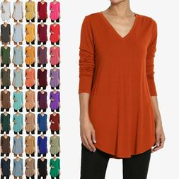TheMogan PLUS Essential Long Sleeve V-Neck Draped Jersey Kni