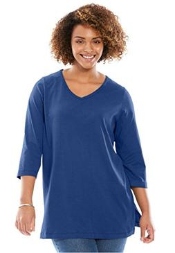 Woman Within Plus Size Perfect V-Neck Three-Quarter Sleeve T