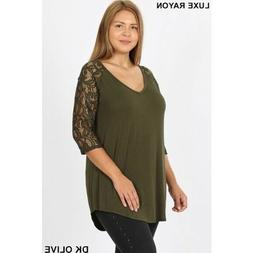 Zenana Outfitters Plus Size 3/4 Lace Sleeves Olive Green V N