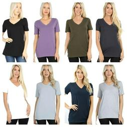 Plus Size Cotton V-Neck Short Sleeve T-Shirts  Loose Fit Tee