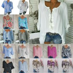 Plus Size Women V Neck Summer Tops Long Sleeve Tunic Baggy L