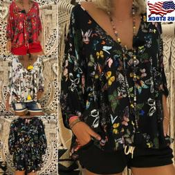 Plus Size Womens Floral Print V Neck Long Sleeve Tops Blouse