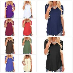 Plus Size Womens Summer Tops Casual Loose Short Sleeve V Nec