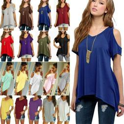 Plus Size Womens V Neck Blouse Loose Tunic Tops Cold Shoulde