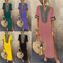 Plus Size Womens V-Neck Long Maxi Dress Tunic Split Summer H