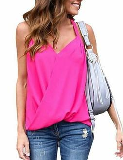 Pullover Solid V Neck Short Sleeve Fashion Tops Casual Blous