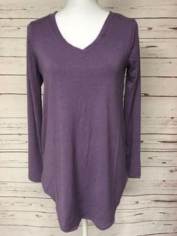 Zenana Outfitters Purple V-Neck Tee Knit Boutique Top S M L