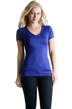 ZENANA OUTFITTERS RAYON THIN BINDING V-NECK TEE