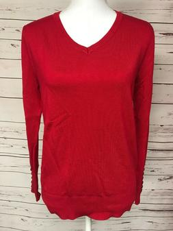 Zenana Outfitters Red V-Neck Sweater Button Sleeve Knit Bout