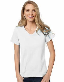 Hanes Relaxed Fit V-neck T-Shirt ComfortSoft Women's Tops Ta