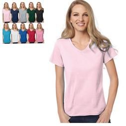 Hanes Relaxed Fit Women's V-neck T-Shirt -- BUY TWO GET THIR