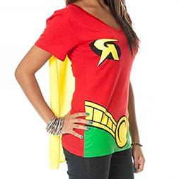 DC Comics Robin Juniors Red V-neck Cape Tee, Red, Large