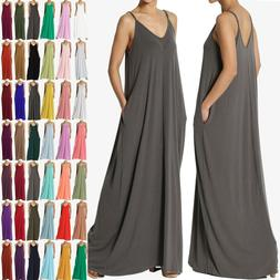 TheMogan S~3X Casual Beach V-Neck Soft Jersey Cami Long Maxi
