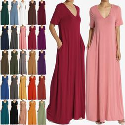 TheMogan S~3X Casual V-Neck Short Sleeve Pocket Maxi Dress W