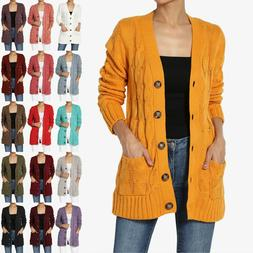 TheMogan S~3X Cozy Button Down V-Neck Cable Knit Sweater Car